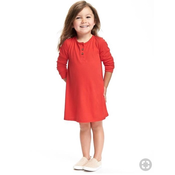 Old Navy Red Swing Dress with Buttons